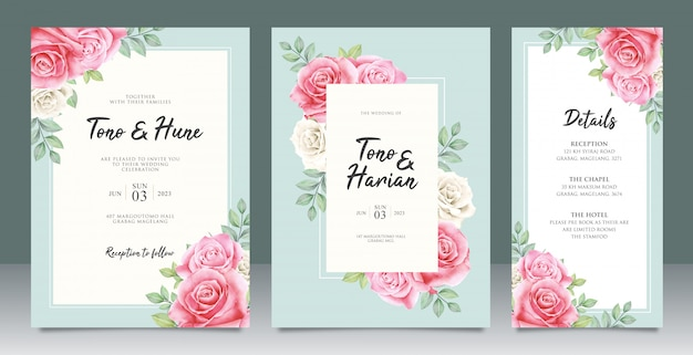 Beautiful wedding card template with beautiful flowers and leaves design