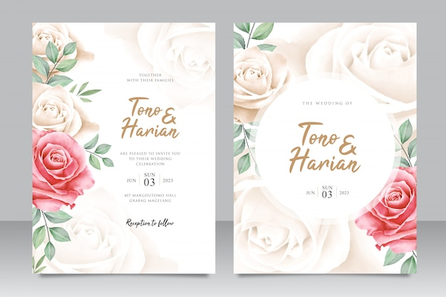 Beautiful wedding card template with beautiful roses flowers