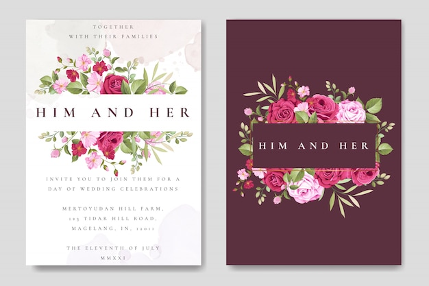 Beautiful wedding card template with colourful maroon roses