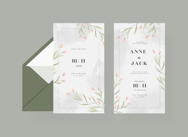 封筒付きの美しいウェディング カード テンプレート