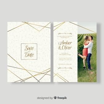 Beautiful wedding card template with photo