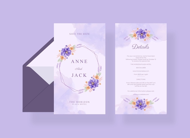 紫の花の花束を持つ美しいウェディング カード テンプレート