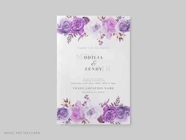Красивый шаблон свадебной открытки с фиолетовой цветочной темой