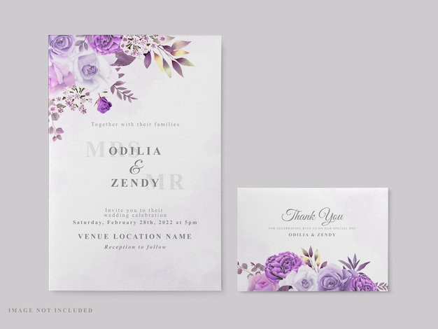 Beautiful wedding card template with purple floral theme