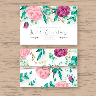 Beautiful wedding card template with realistic floral frame