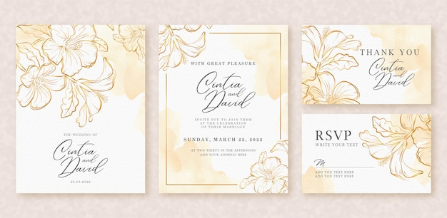 Beautiful wedding card watercolor background with gold splash and flowers