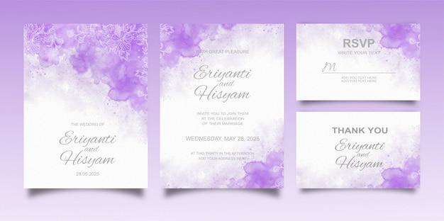 スプラッシュと花のラインと美しいウェディングカード水彩背景