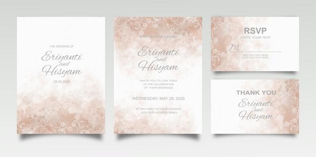 스플래시와 꽃 라인 아름 다운 웨딩 카드 수채화 배경