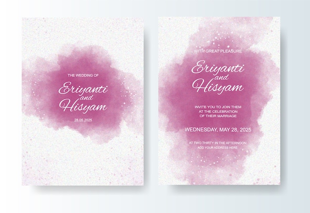 Beautiful wedding card watercolor background with splash