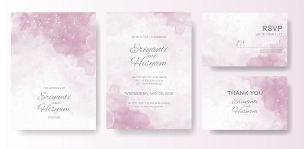 스플래시와 아름 다운 웨딩 카드 수채화 배경 프리미엄 벡터