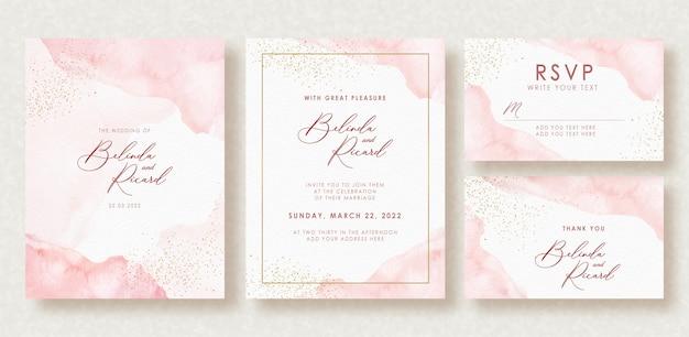 아름 다운 웨딩 카드 수채화 스플래시와 골드 반짝