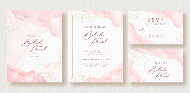 Beautiful wedding card  watercolor splash and gold sparkles