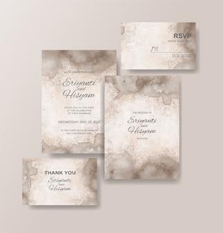 Beautiful wedding card watercolor with splash
