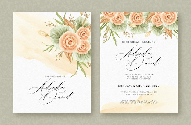 Beautiful wedding card with beautiful bouquet of flowers watercolor