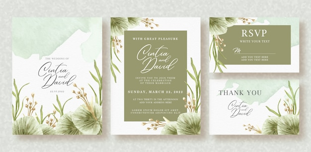 Beautiful wedding card with beautiful floral watercolor