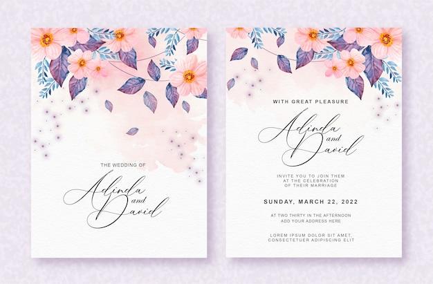 美しい花の水彩画の背景を持つ美しいウェディングカード