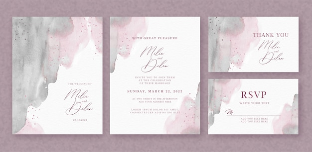 Beautiful wedding card with brushes watercolor background