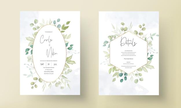 Красивая свадебная открытка с декоративным дизайном листьев