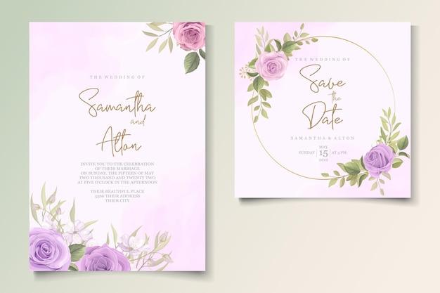 Красивая свадебная открытка с цветочным декором