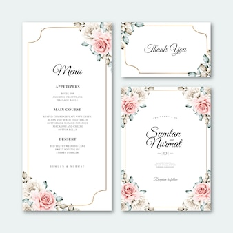 Beautiful wedding card with floral frame watercolor