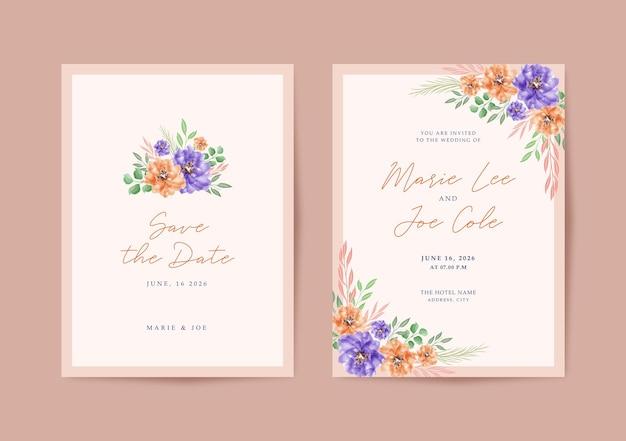 花のフレームと美しいウェディングカード
