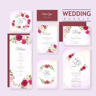 Beautiful wedding card with floral and leaves background template