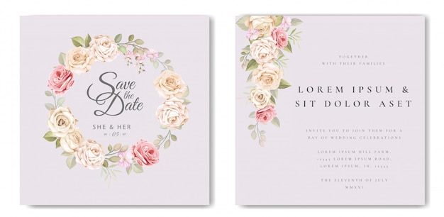 Beautiful wedding card with floral and leaves template