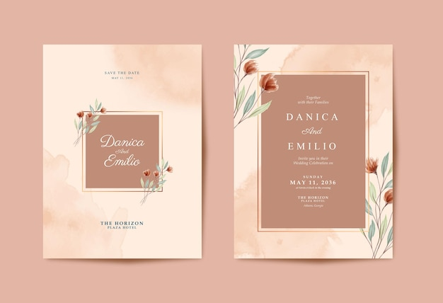 Красивая свадебная открытка с цветочной акварелью