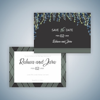 Beautiful wedding card with leaves and branches and simple lines