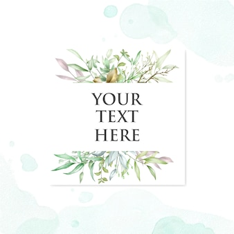 Beautiful wedding card with leaves watercolor background