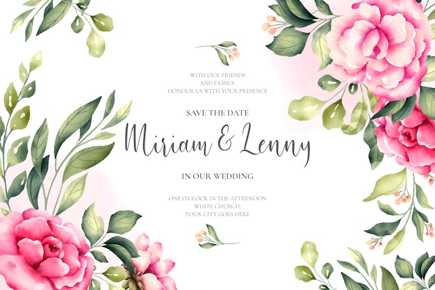 Beautiful wedding card with pink flowers