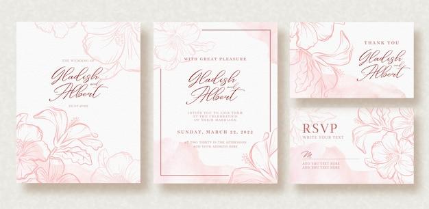 핑크 스플래시와 꽃 템플릿 아름 다운 웨딩 카드