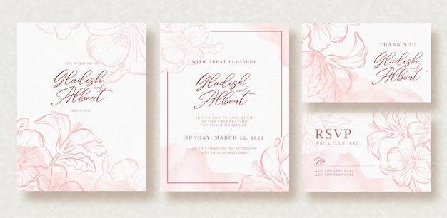 Beautiful wedding card with pink splash and flowers template