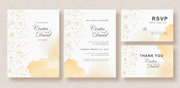 Beautiful wedding card with splash orange color and flower background