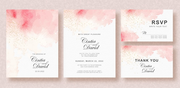 Beautiful wedding card with splash watercolor background