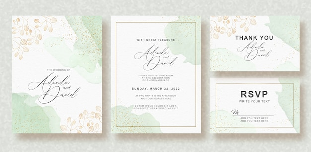 Beautiful wedding card with splash watercolor