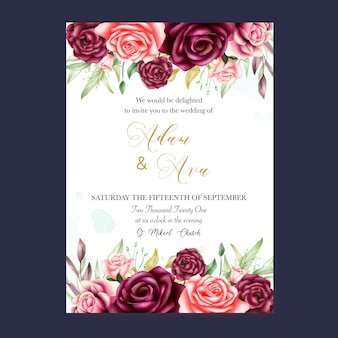 Beautiful wedding card with watercolor background