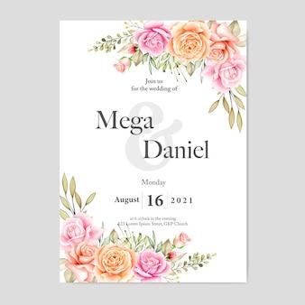 수채화 꽃과 잎으로 아름 다운 웨딩 카드