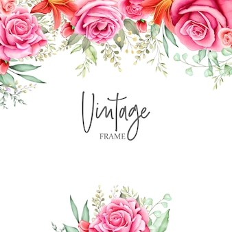 Beautiful wedding card with watercolor floral and leaves
