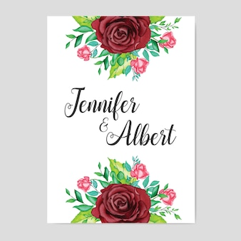 Beautiful wedding card with watercolor