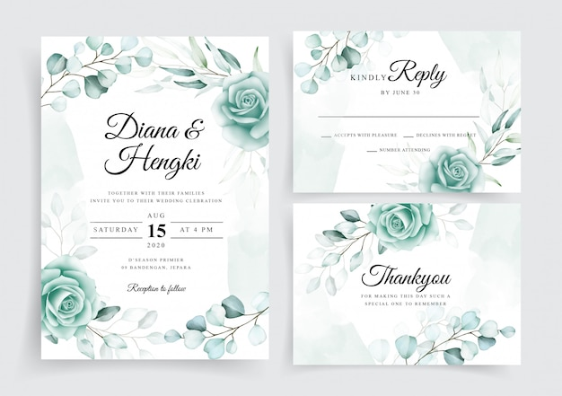 Beautiful wedding cards template set with watercolor eucalyptus