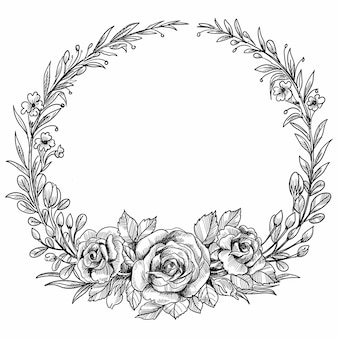 Beautiful wedding circular floral frame sketch design