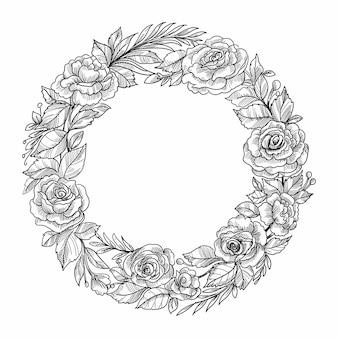美しい結婚式の円形花フレームスケッチデザイン