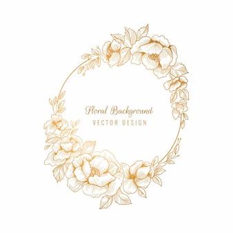 Sfondo cornice floreale dorata circolare di bel matrimonio Vettore gratuito