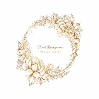 Sfondo cornice floreale dorata circolare di bel matrimonio