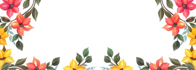 Beautiful wedding colorful floral banner background design