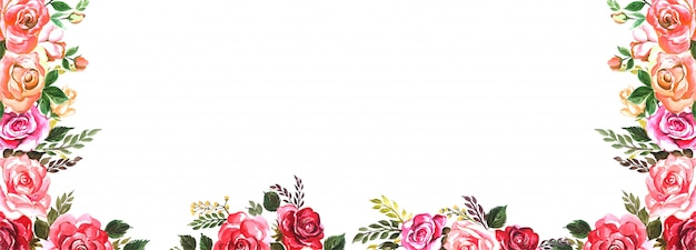 Beautiful wedding colorful flowers banner background