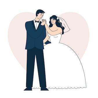 Красивая свадебная пара. жених и невеста. каракули векторные иллюстрации