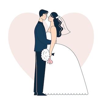 아름 다운 웨딩 커플입니다. 신부와 신랑. 낙서 벡터 일러스트 레이 션