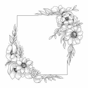 美しい結婚式の花のフレームスケッチ